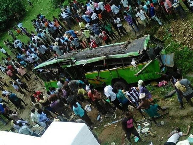 The tragedy took place near Puruna Manitri in Angul district when the bus driver lost control over the wheels. The bus fell off the bridge from a height of 50ft.