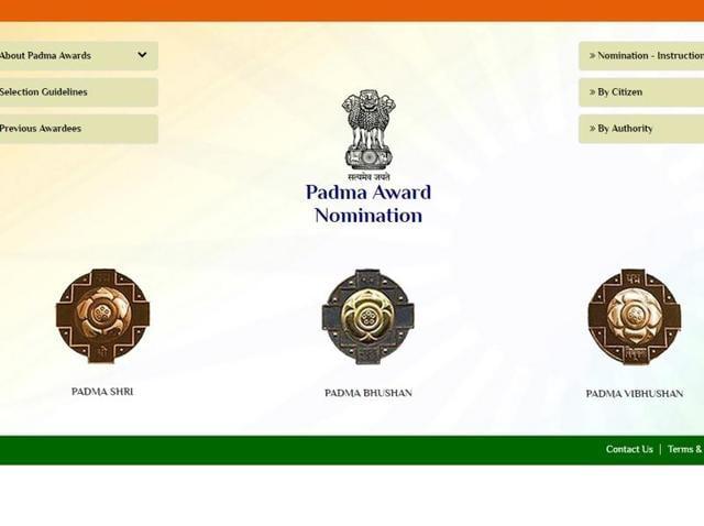 Screengrab of the Padma awards official website.