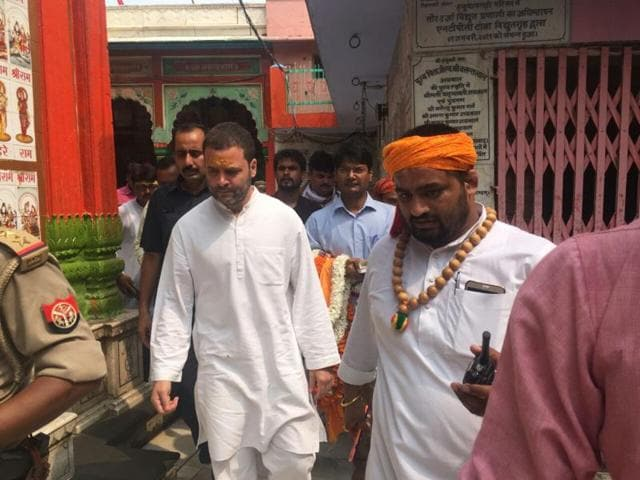 Congress vice-president Rahul Gandhi prayed at a temple in Ayodhya on Friday.