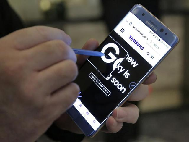 In this file photo, a screen magnification feature of the Samsung Galaxy Note 7 is demonstrated, in New York. India has banned the use of Samsung Galaxy Note 7 on all flights, following reports of explosions from faulty batteries.