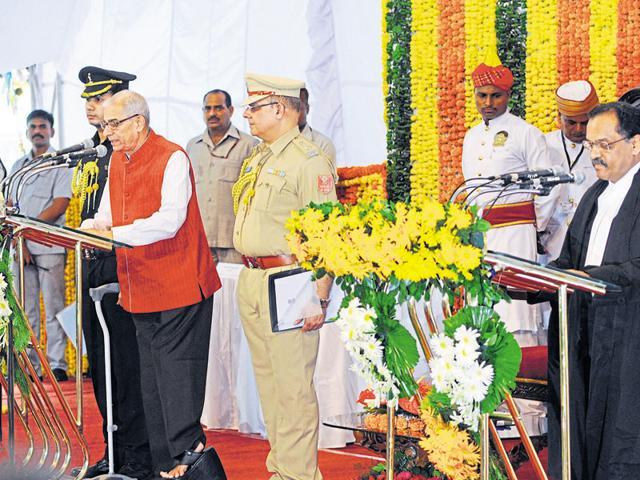 O P Kohli taking oath as governor of Madhya Pradesh at Raj Bhavan in Bhopal on Thursday.