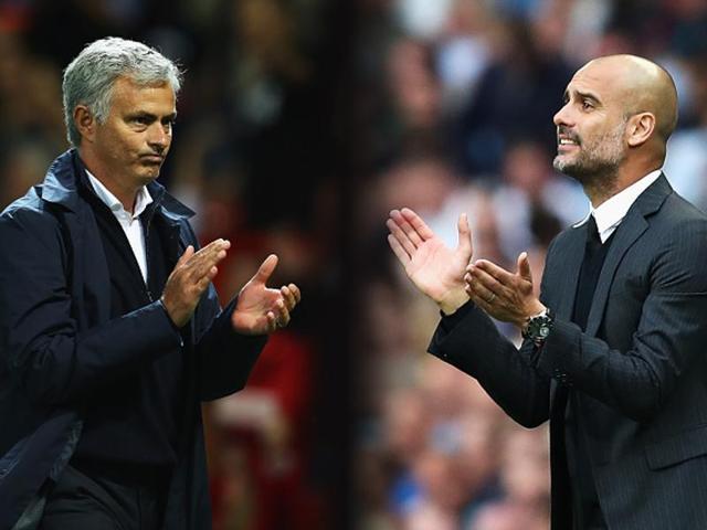 A file photo ofJose Mourinho (L) and Pep Guardiola.