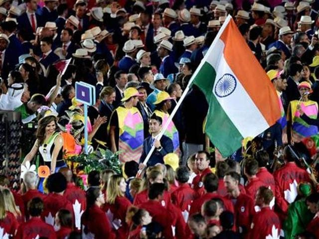 The Indian contingent marches at the opening ceremony for the 2016 Summer Olympics in Rio de Janeiro.