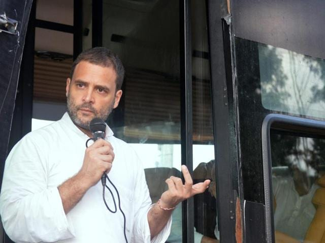Congress vice-president Rahul Gandhi addresses supporters during his Kisan Yatra in Basti on Thursday.