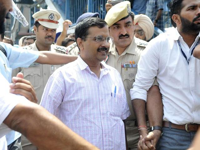 AAP national convener and Delhi CM Arvind Kejriwal on his arrival at the Ludhiana railway station on Thursday.