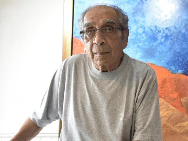 Artist Akbar Padamsee at his residence in Mumbai, in August 2016.  The 89-year-old's painting, Greek Landscape, was sold to artist Krishen Khanna for his own collection back in 1960.