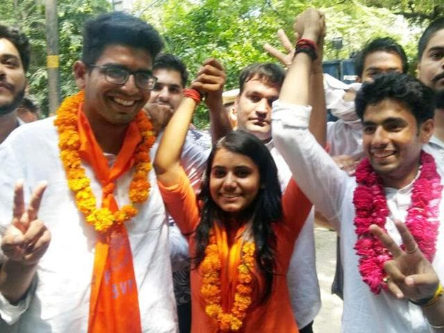 ABVP's Amit Tanwar won the president's seat, while Priyanka Chabri was elected vice-president and Ankit Sangwan the secretary. The DUSU results were announced on Saturday.