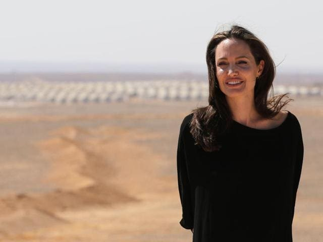 US actor and UNHCR special envoy Angelina Jolie looks on during a visit to a Syrian refugee camp.