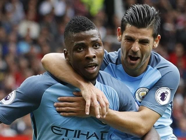 Manchester City's Kelechi Iheanacho celebrates scoring their second goal.