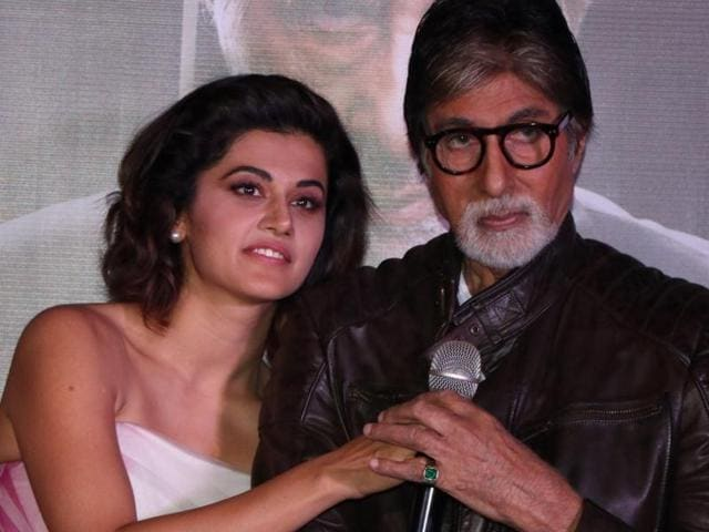Taapsee Pannu and Amitabh Bachchan during the trailer launch of film Pink in Mumbai.
