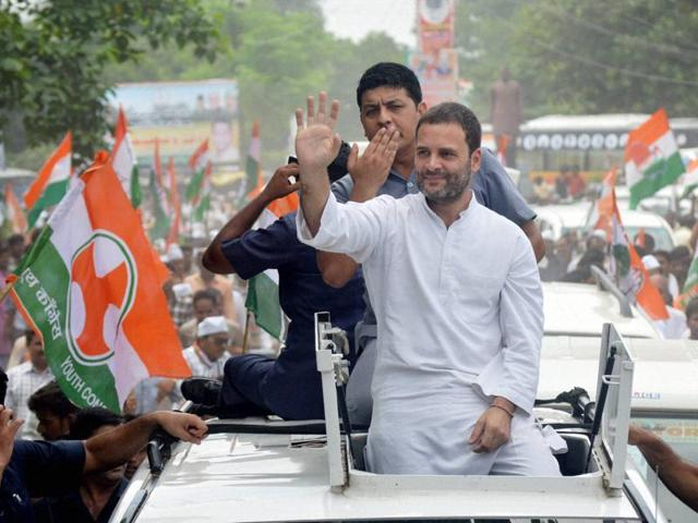 Congress vice-president Rahul Gandhi waves at supporters during his Kisan Yatra in Basti on Thursday.