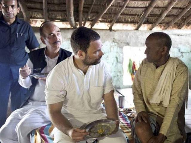 Congress vice-president Rahul Gandhi meets a farmer during his Kisan Yatra in Gonda on Thursday.