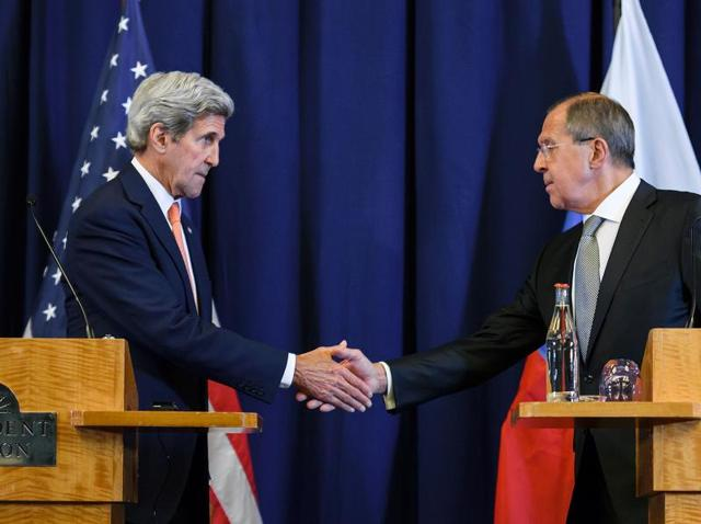 US secretary of state John Kerry (left) with Russian foreign minister Sergei Lavrov. The United States and Russia on Friday agreed a plan to impose a ceasefire in the Syrian civil war and lay the foundation of a peace process.