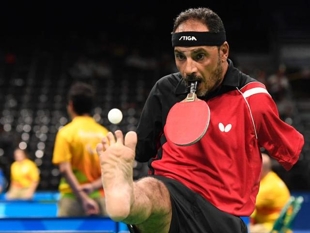 Egypt's Ibrahim Hamadtou competes in table tennis at the Riocentro during the Paralympic Games in Rio de Janeiro, Brazil.