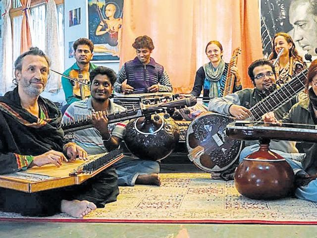 Foreign students at Dhrupad Institute in Bhopal.