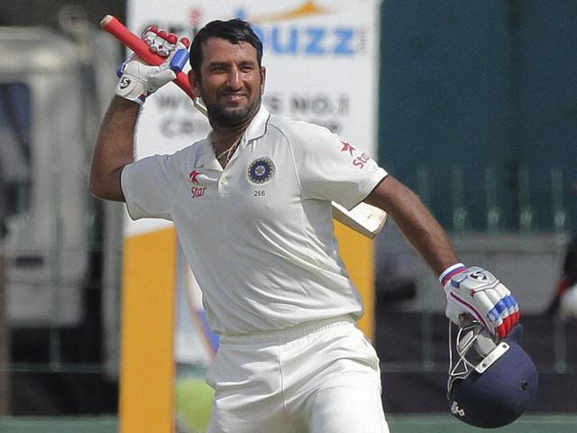 India Blue's Cheteshwar Pujara (left) struck his second big  knock of the Duleep Trophy tournament, amassing 256 not out on the second day of the final against India Red on Sunday. He hit 166 in the previous game.