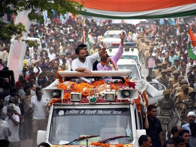 Rahul Gandhi in Jaunpur on Saturday. The Congress vice-president attacked the BJP govt at his rally and accused Modi of ignoring the interest of farmers.