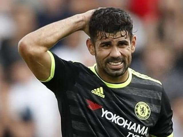 Chelsea's Diego Costa celebrates scoring against Swansea City during the English Premier League match against Swansea City at the Liberty Stadium, Swansea, Wales, on Sunday.