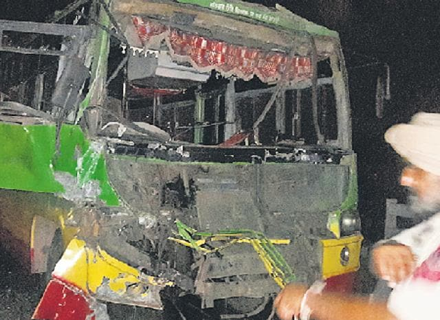 The damaged bus that hit a truck at Lamba Pind Chowk on the Jalandhar-Amritsar highway on Sunday.