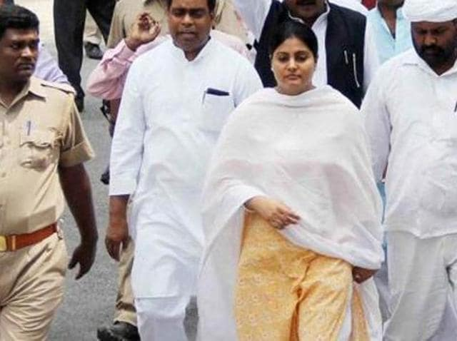 Minister of state in the ministry of health and family welfare, Anupriya Patel, at a road show in Allahabad.