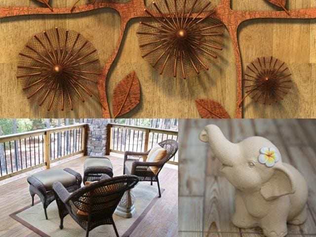 Add jute, metal wooden, marble and other handicrafts to your home and bring an earthy touch.