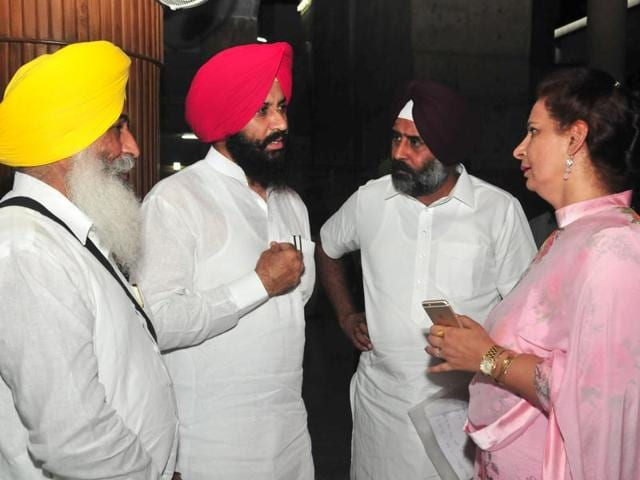 (From left) Balwinder Singh, Simarjeet Singh, Pargat Singh and Navjot Kaur Sidhu during the assembly session in Chandigarh on Monday.