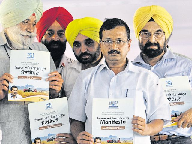 At a rally in Moga's Bagapurana grain market on Sunday, Kejriwal and other AAP leaders released the party's manifesto for Punjab's farmers.