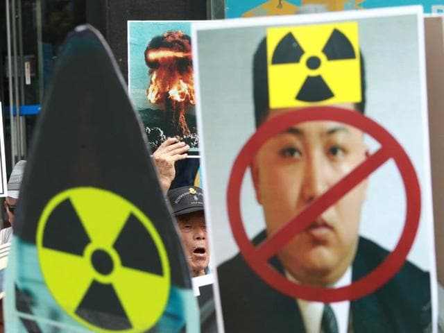 In this file photo taken on Saturday, Sept. 10, 2016, a South Korean protester shouts slogans during a rally denouncing North Korea's latest nuclear test in Seoul, South Korea, Saturday, Sept. 10, 2016.