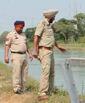 Police inspecting the spot where the Anmol drowned on Monday.