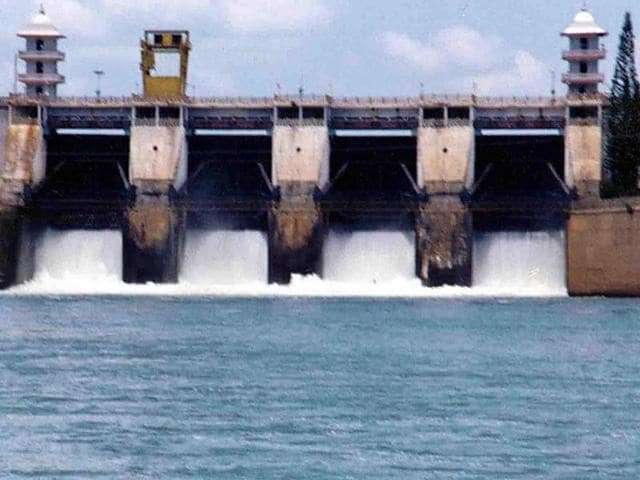 This photo shows Cauvery river water being released from the Kabini Dam at Heggadadevankote province.