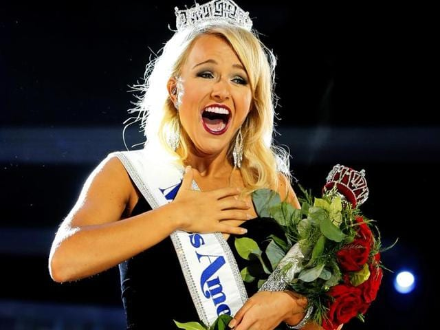 Miss Arkansas Savvy Shields reacts after being named new the Miss America 2017 on Sunday in Atlantic City, New Jersey.