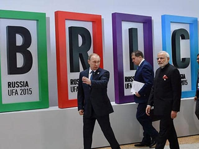 PM Modi with Russian President Vladimir Putin, former Brazilian president Dilma Rousseff, Chinese President Xi Jinping and South African President Jacob Zuma at the 7th BRICS Summit in Ufa.
