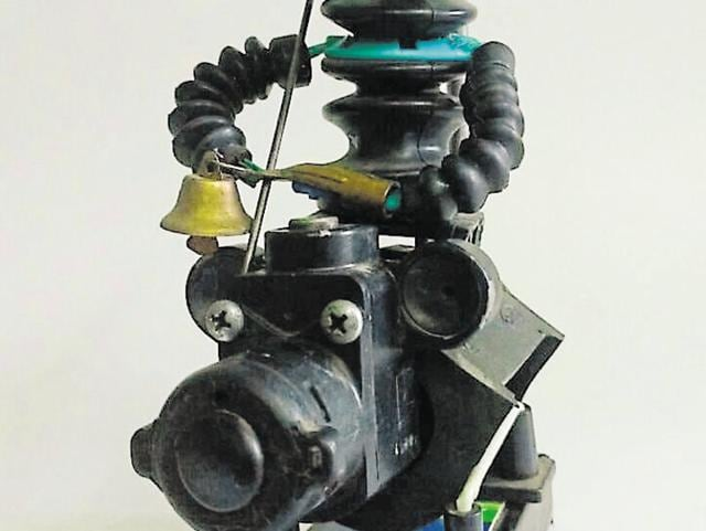 Idol of Lord Shiva made from waste electronic and mechanical parts by Devendra Prakash Tiwari.
