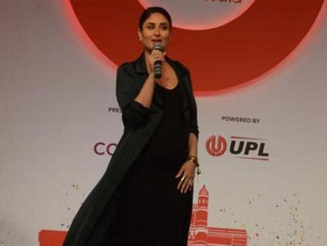 Kareena Kapoor speaking at the Global Citizen Movement programme in Mumbai. (IANSPhoto)