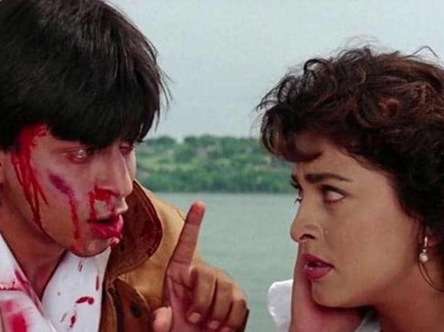 Yash Chopra's psychological thriller was about an obsessive lover Rahul (SRK), who wrecks havoc on the lives of Kiran (Juhi) and Sunil (Sunny Deol).