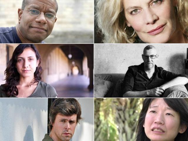 (Clockwise from top left) Authors Paul Beatty, Deborah Levy, Graeme Macrae Burnet, Madeleine Thien, David Szalay and Otessa Moshfegh.