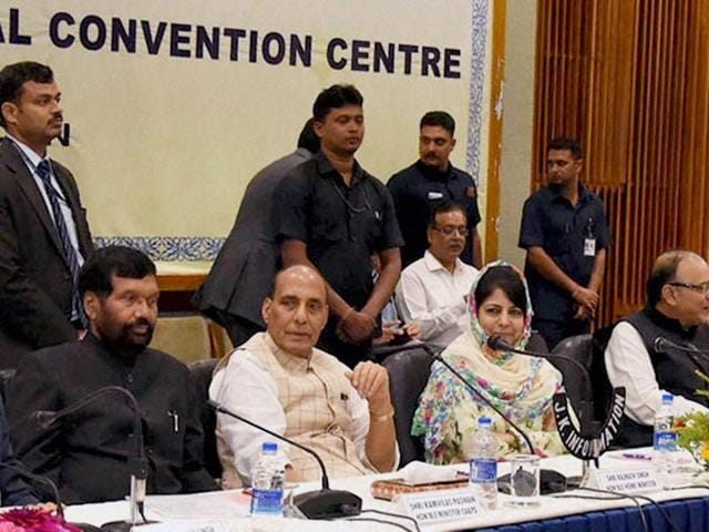 Home minister Rajnath Singh chairing the meeting of All Party delegation with the J-K government, in Srinagar. India has slammed remarks by UNHCR on the situation in the state, saying Indian democracy has all that is required to address legitimate grievances.(PTI Photo)