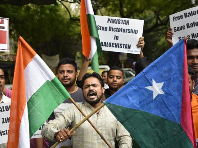 Hindu Sena members stage a protest to support Balochistan. In his address from the ramparts of the Red Fort on the occasion of 70th Independence Day, Prime Minister Narendra Modi talked about the situation in Pakistan-occupied Kashmir, Gilgit and Balochistan and said people from there have thanked him for raising their issues.