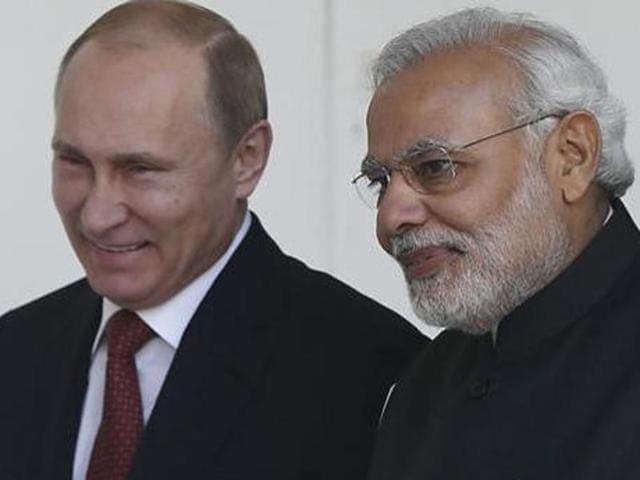 File photo of Russian President Vladimir Putin and Prime Minister Narendra Modi.