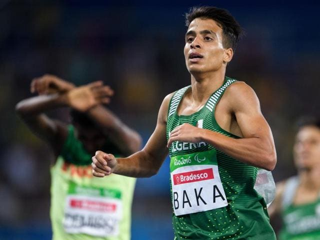 Algeria's Abdellatif Baka narrowly wins the gold ahead of Ethiopia's Tamiru Demisse in the men's 1,500-metre T13 final athletics in Rio de Janeiro on Sunday.