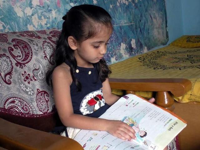 Seven-year-old Aryadhya Rawal isa  Class 1 student.