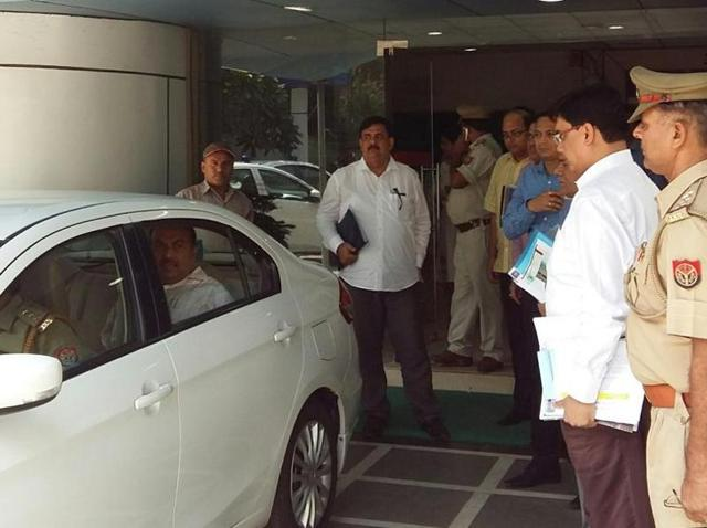 Officials leaving Noida authority office after the news of removal of chief secretary Deepak Singhal broke on Tuesday.