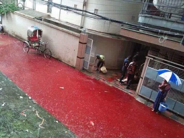 Dhaka residents were seen wading through ankle-high water awashed with blood and animal remains.