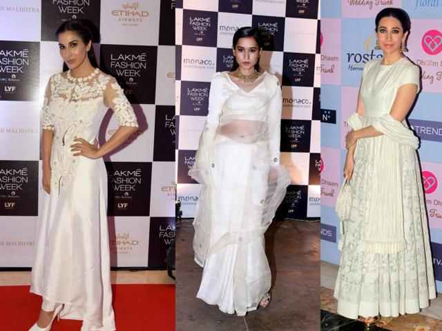Bollywood fashionistas are loving their white traditionalwear. Here's Sophie Choudry , Tillotama Shome and Karisma Kapoor looking splendid in white.