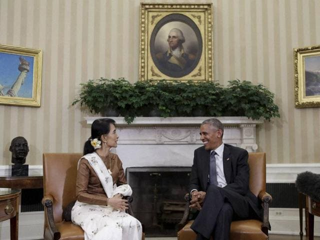 President Barack Obama meets Myanmar's leader Aung San Suu Kyi in the Oval Office of the White House in Washington.