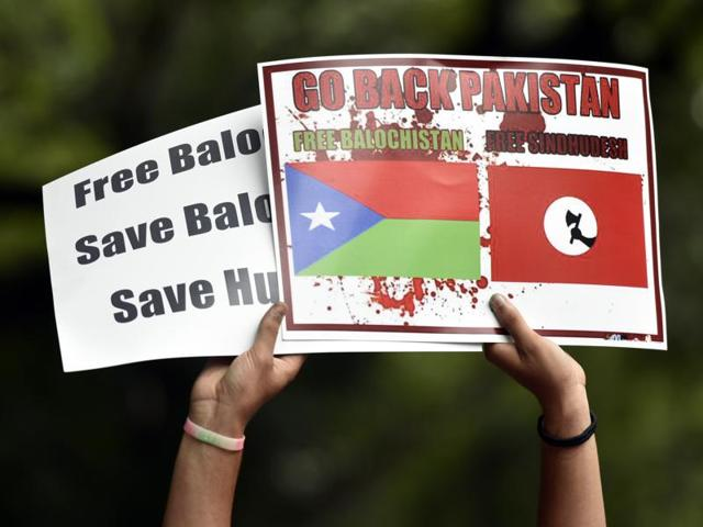 Hindu Sena members stage a protest in support of Balochistan at Jantar-Mantar, New Delhi, India, August 17, 2016