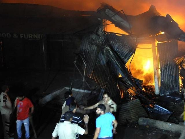 Fire at the furniture market in Sector 53, Chandigarh, on Wednesday.