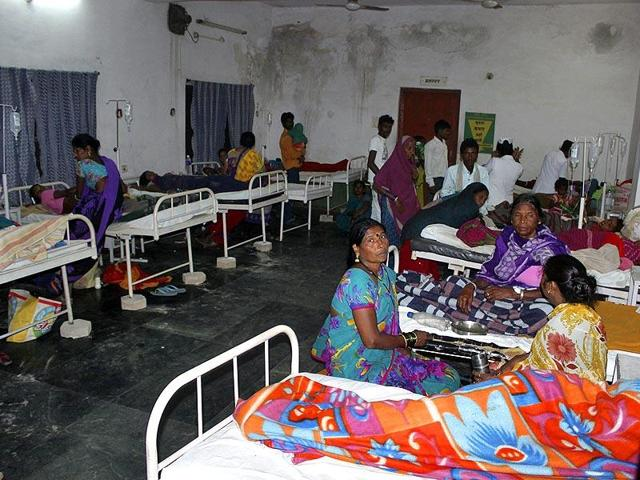 Women who underwent botched sterilisation surgeries at a government mass sterilisation 'camp' receive treatment at a district hospital in Bilaspur, Chhattisgarh.