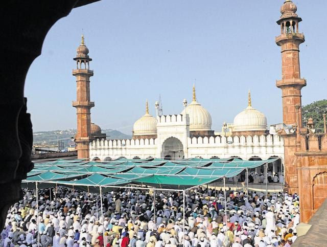 Muslims offer namaz at Moti masjid on the occasion of Eid al-Adha in Bhopal on Tuesday.