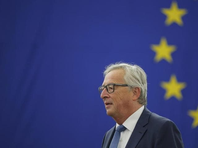 European Commission President Jean-Claude Juncker addresses the European Parliament during a debate on The State of the European Union in Strasbourg, France, on Wednesday.